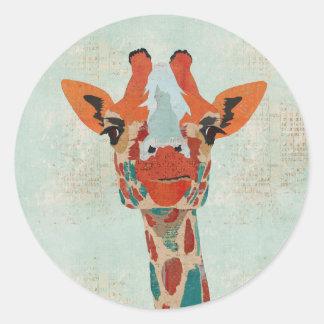 Pegatina ambarino de la jirafa que mira a escondid
