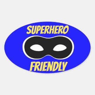 Pegatina amistoso del super héroe azul