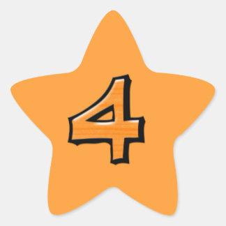Pegatina anaranjado de la estrella del número 4 to
