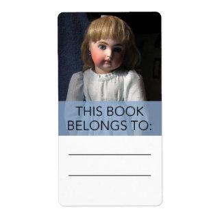 Pegatina antiguo del Bookplate de la muñeca de