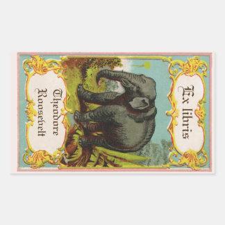 pegatina antiguo del Bookplate del elefante de los