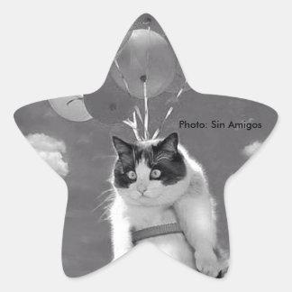 Pegatina asteroide: Vuelo divertido del gato con