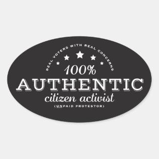 Pegatina auténtico del activista del ciudadano
