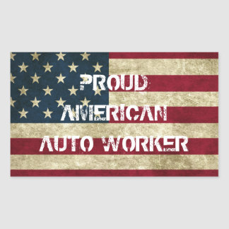 Pegatina auto americano orgulloso del trabajador