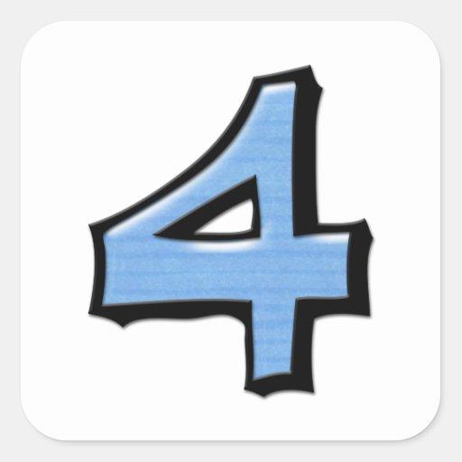 Pegatina azul de la casilla blanca del número 4