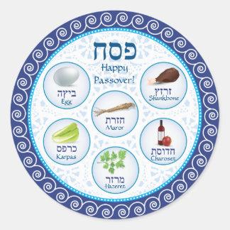 Pegatina azul de la placa de Seder del Passover