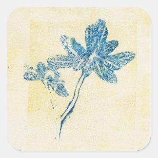 Pegatina azul del cuadrado de la planta de la hoja