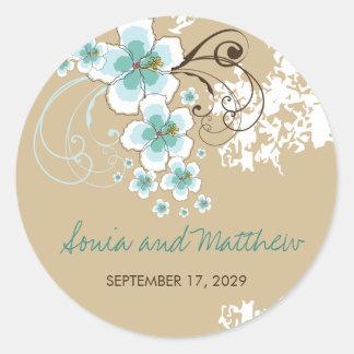 Pegatina azul del favor del boda del hibisco