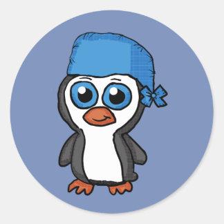 Pegatina azul del pingüino del pañuelo