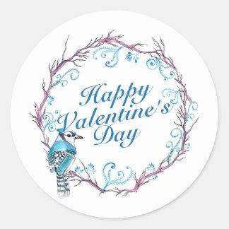 Pegatina azul floral del el día de San Valentín