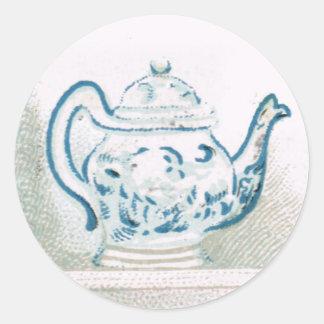 Pegatina azul y blanco del comienzo del siglo XX