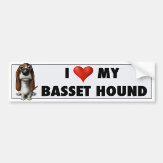 Pegatina BH1 del amor de Basset Hound Pegatina Para Coche