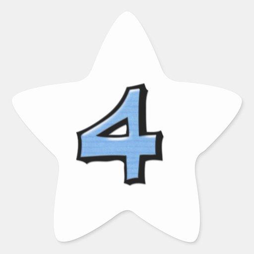 Pegatina blanco azul de la estrella del número 4