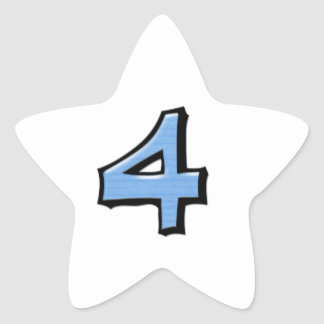 Pegatina blanco azul de la estrella del número 4 t