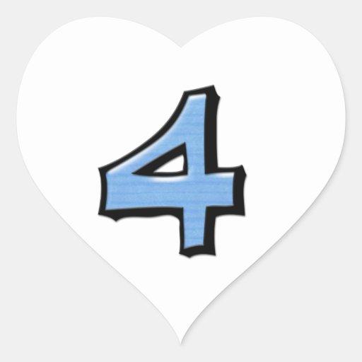 Pegatina blanco azul del corazón del número 4