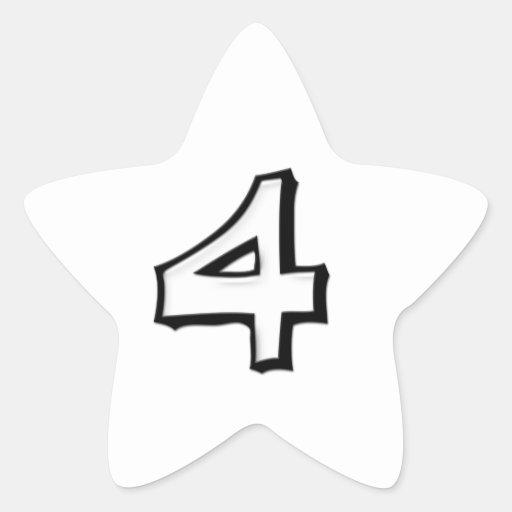 Pegatina blanco blanco de la estrella del número 4