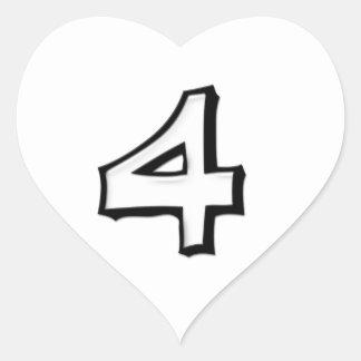 Pegatina blanco blanco del corazón del número 4