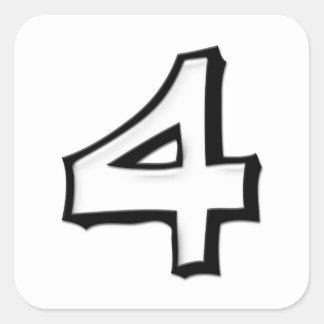 Pegatina blanco de la casilla blanca del número 4