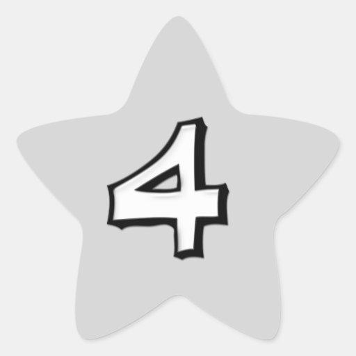 Pegatina blanco de la estrella del número 4 tontos