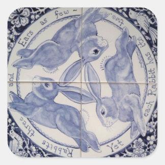 Pegatina blanco del diseño del trío del conejo de pegatina cuadrada