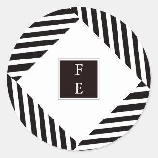 Pegatina blanco negro moderno elegante del