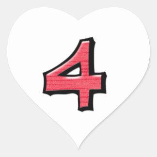 Pegatina blanco rojo del corazón del número 4 tont