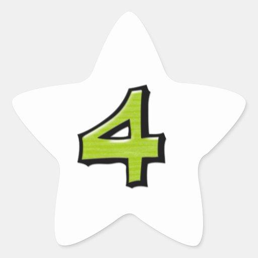 Pegatina blanco verde de la estrella del número 4