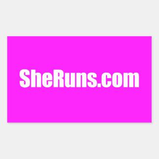pegatina brillante del rectángulo de SheRuns.com