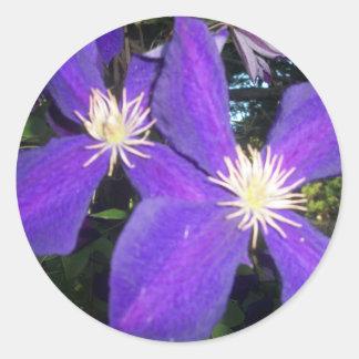 Pegatina brillante redondo clásico con la flor