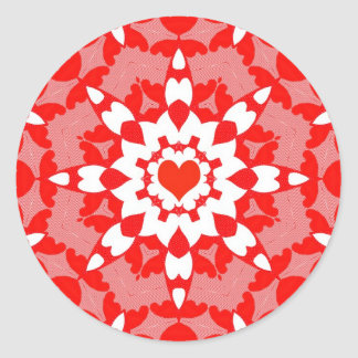 Pegatina caleidoscópico del corazón rojo intrépido