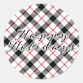 Pegatina clásico del navidad de la tela escocesa