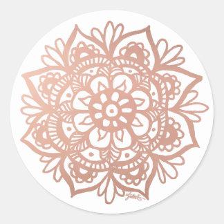 Pegatina color de rosa de la mandala del oro