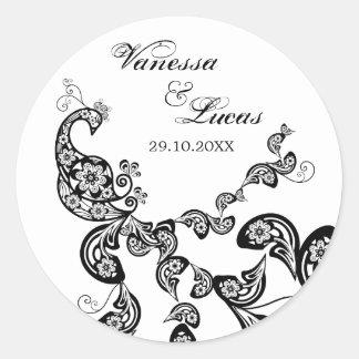 Pegatina con clase del boda del pavo real floral