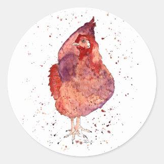 Pegatina con gallina handgemaltem viejo con