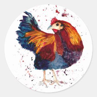 Pegatina con gallo handgemaltem viejo con acuerdo