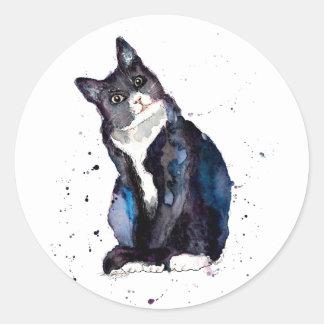 Pegatina con gato handgemalter viejo con acuerdo