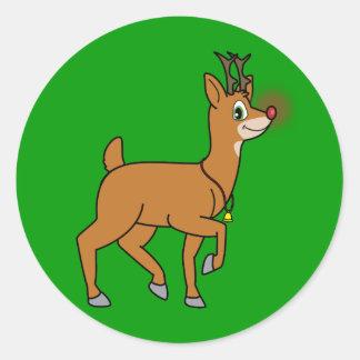 Pegatina con la nariz roja del reno del navidad