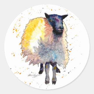 Pegatina con oveja handgemaltem viejo con acuerdo