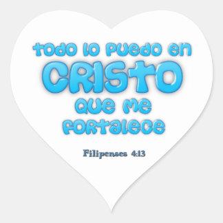 Pegatina Corazón Todo lo puedo en CRISTO