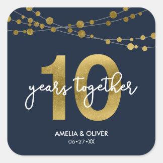 Pegatina Cuadrada 10mo aniversario de boda de las luces elegantes