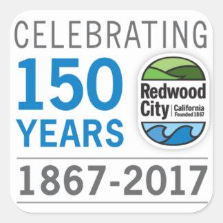 Pegatina Cuadrada 150o aniversario de Redwood City