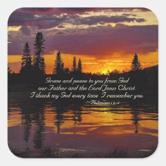 Pegatina Cuadrada 1:2 de los filipenses - 3 honran y paz a usted,