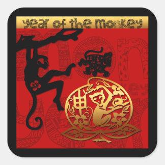 Pegatina Cuadrada 2016 años del Año Nuevo chino del mono