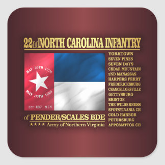 Pegatina Cuadrada 22do Infantería de Carolina del Norte (BA2)