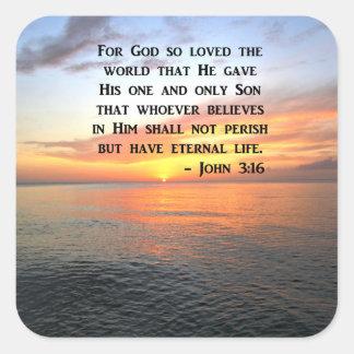 PEGATINA CUADRADA 3:16 DE JUAN DE LA SALIDA DEL SOL QUE INSPIRA LA