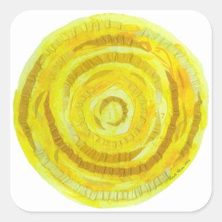 Pegatina Cuadrada 3rd-Solar ilustraciones curativas amarillas del