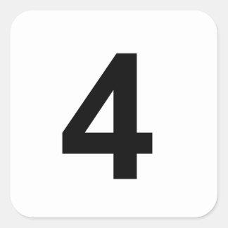 Pegatina Cuadrada 4 - número cuatro