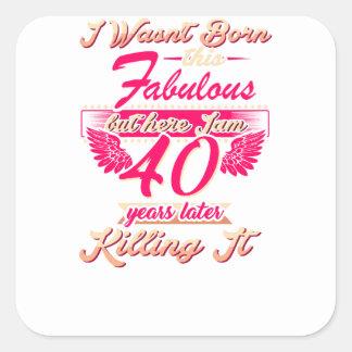 Pegatina Cuadrada 65.a camiseta linda del regalo de la fiesta de
