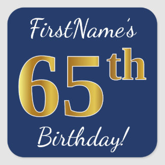 Pegatina Cuadrada 65.o cumpleaños del oro azul, falso + Nombre de