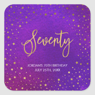 Pegatina Cuadrada 70.o cumpleaños de la acuarela púrpura estrellada